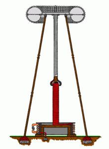 The Tesla coil wireless transmitter Image credit: wikipedia