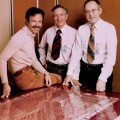 Intel founders Robert Noyce (center) and Gordon Moore (right) with Andrew Grove on Intel's 10th anniversary in 1978.