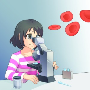 cmyk girl microscope